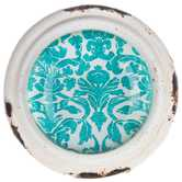 White Pewter Knob with Turquoise Damask Center